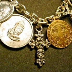 Estate catholic Saints 1940s charm bracelet